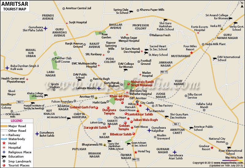 Tourist Map of Amritsar