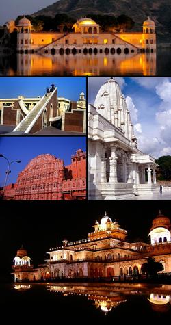 Clockwise from top: Jal Mahal, Birla Mandir, Jaipur, Albert Hall Museum, Hawa Mahal, Jantar Mantar