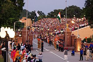 The evening flag lowering ceremony at the India–Pakistan international border near Wagah