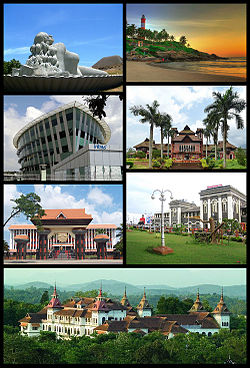 Clockwise from top right: Kovalam Beach, Napier Museum, Trivandrum Central, Kowdiar Palace, Niyamasabha Mandiram,Infosys Building, The Sculpture of Jalakanyaka Mermaid